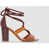 Leather High Heel Sandals with Tie Fastening