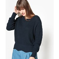 Crew Neck Chunky Cotton Knit Jumper