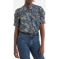 shop for Printed Blouse with Ruched Sleeves at Shopo