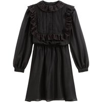 shop for Ruffled Flared Mini Dress with Long Sleeves and Broderie Anglaise at Shopo