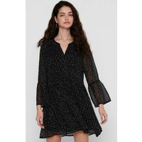 shop for Polka Dot Mini Dress with V-Neck and Long Ruffle Sleeves at Shopo