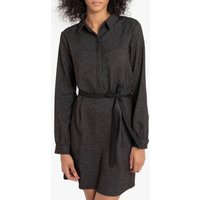 Ronel Fitted Flannel Shirt Dress with Tie-Waist and Long Sleeves