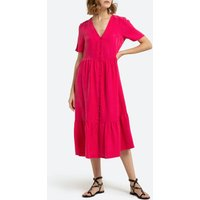 shop for Satin Button-Through Midi Dress with Short-Sleeves and V-Neck at Shopo
