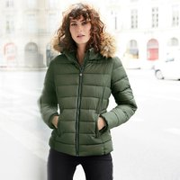 Padded Jacket with Removable Faux Fur Hood