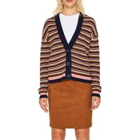 Striped Cotton Mix Cardigan with V-Neck and Buttons
