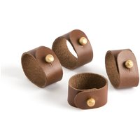 Skorza Buffalo Leather Napkin Rings, Set of 4