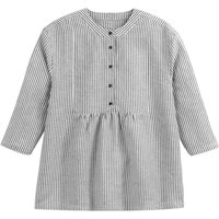 shop for Linen Mix Striped Gathered Blouse at Shopo