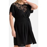 shop for Guipure Laced Tie-Waist Dress with Buttoned Back at Shopo
