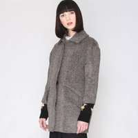 Patterned, Fluffy, Mid-Length Coat with 3/4 Length Sleeves