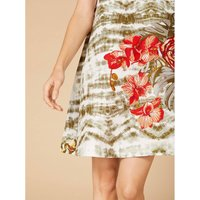shop for Sleeveless Floral Mini Shift Dress with Crew-Neck at Shopo