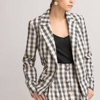 Gingham Cotton/Linen Blazer