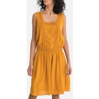 shop for Pleated Drop Waist Dress with Braid Trim at Shopo