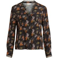 Draping Leaf Print Blouse with Lace Detail.