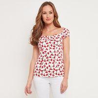 Cherry Print Cotton Blouse