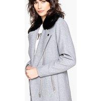 Wool Mix Biker Coat with Faux Fur Collar