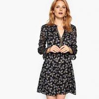 shop for Metallic Openwork Leaf Print Dress at Shopo
