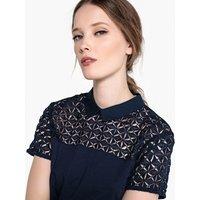 T-shirt navy;Nero;rosa antico donna T-shirt inserto in pizzo stella