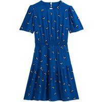 shop for Floral Cutout Back Dress with Short Puff Sleeves at Shopo