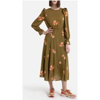 shop for Floral Print Midaxi Dress with Long Ruffled Sleeves at Shopo
