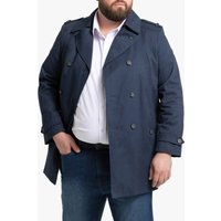 Cotton Short Trench Coat with Double-Breasted Buttons