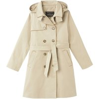 Hooded Cotton Trench Coat, 4-12 Years