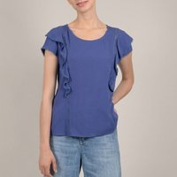 shop for Ruffled Bodice Short-Sleeved Blouse at Shopo