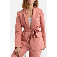 Single Breasted Belted Blazer in Cotton Mix
