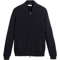 Cotton Fine Knit Cardigan with Zip Fastening