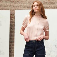 shop for High Neck Pleated Blouse with Short Puff Sleeves at Shopo