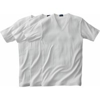 Pack of 3 V-Neck Short-Sleeved Ribbed Combed Cotton T-shirts