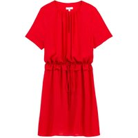 shop for Short-Sleeved Shift Dress with Ruffled Waist and Round Neck at Shopo