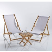 Set of 2 Acacia Deckchairs and Low Table