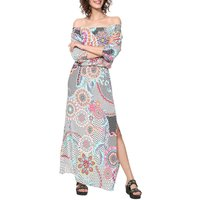 Dera Graphic Print Maxi Dress with Off-the-Shoulder Neck