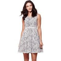 Flared Striped Print Sleeveless Dress