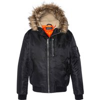 N2B 28 Warm Bomber Jacket with Faux Fur Hood and Pockets