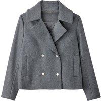 Cropped Wool Blend Coat