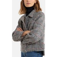 Short Checked Pea Coat in Wool Mix
