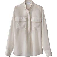 Plain Mandarin Collar Blouse with Breast Pockets