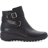 Ariane Leather Ankle Boots with Wedge Heel and Buckles