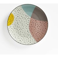 Renkli Set of 4 Hand-Painted Graphic Print Dessert Plates