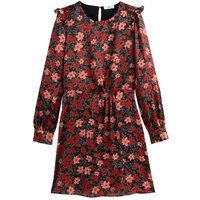 shop for Floral Print Mini Dress with Long Ruffled Sleeves at Shopo