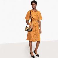shop for Faux Suede Button-Through Shirt Dress at Shopo