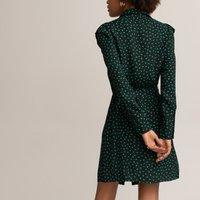 shop for Polka Dot Shirt Dress with Tie-Waist and Ruffles at Shopo