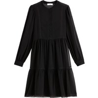 Recycled Tiered Dress with Crew Neck and Long Sleeves