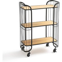 HIBA Metal and Pine Serving Trolley