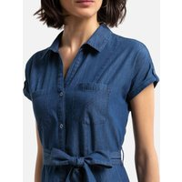 Denim Shirt Dress with Short Sleeves