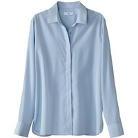 Satin Look Shirt with Concealed Buttoned Placket