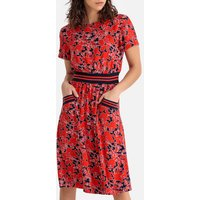 shop for Floral Mid-Length Dress with Sporty Belt and Short Sleeves at Shopo