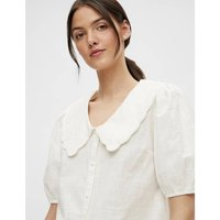 Cotton Blouse with Oversized Peter Pan Collar and Short Puff Sleeves.