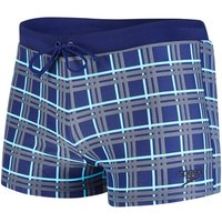 Boxer-Style Swim Shorts with Check Print